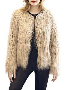 6a9525a2e67 Women s Long Sleeve Vintage Winter Warm Fluffy Faux Fur Coat Jacket Outwear  Fausse Fourrure
