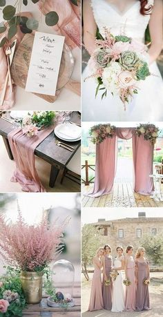 dusty rose pink and green romantic wedding color inspiration, blush and greenery wedding color palette inspiration for 2018 wedding decorations on a budget. Save on your wedding planning board! Romantic Wedding Colors, Romantic Weddings, August Wedding Colors, Outdoor Weddings, Vintage Wedding Colors, Wedding Colours, Vintage Pink, Wedding Motif Color, Unique Weddings