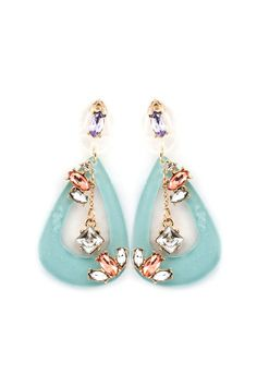 Gorgeous champagne, crystal & lilac rhinestones set against a beautiful blue Teardrop!