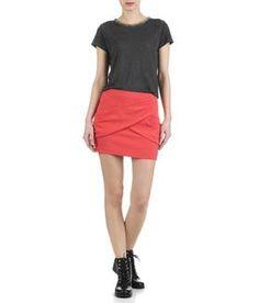 Jupe drapée Rouge MAJE FEMME - Boutique en ligne MAJE - Place des Tendances.