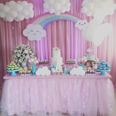 Party ideas of the love rain theme - Party ideas of the love rain theme - Twin Birthday Parties, Unicorn Themed Birthday Party, Rainbow Birthday Party, Unicorn Party, Baby Birthday, Balloon Decorations, Birthday Party Decorations, Cloud Party, Baby Shower