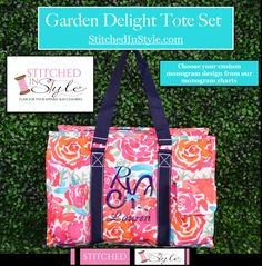 Personalized Garden Delight Organizing Tote Bag Large Nurse Utility  Everyday Work Tote Name Monogrammed By StitchedInStyle1