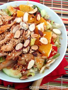 Low in fat and packed with fresh, tasty ingredients, this exotic Chinese Chicken Salad is a heart-healthy winner. Dig in! #hypertension
