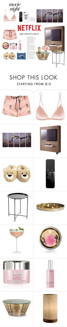 """ChillinWithNetflix"" by neverforgetwhouare ❤ liked on Polyvore featuring River Island, Fleur du Mal, Pacini & Cappellini, Forever 21, Identity, Apple, Hawkins, Crate and Barrel, By Terry and African Botanics"