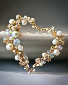 Pearl and Crystal Sterling and Gold Filled Wire Necklace