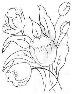 riscos tela | risco de tulipa para pintura em tela