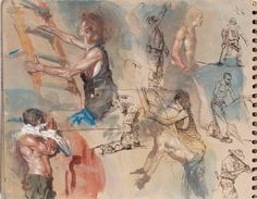 """Steve Huston, """"Yet another sketchbook page. Gouache and pen and ink. """""""