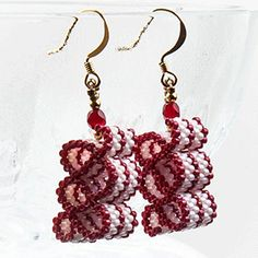 Ribbon Candy Earrings (Red and White) at Sova-Enterprises.com