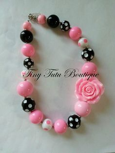 Hey, I found this really awesome Etsy listing at http://www.etsy.com/listing/130886181/pink-polka-dot-flower-chunky-necklace