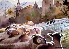 troupeau-au-village.jpg - Painting,  60x80 cm ©2014 par jean guy DAGNEAU -  Peinture, Aquarelle