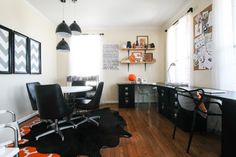 I love this office!  Rebecca and Anthony's brick colonial - eclectic - Home Office - Dc Metro - Michaela Dodd