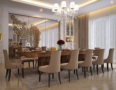 Luxury Dining Tables, Elegant Dining Room, Luxury Dining Room, Beautiful Dining Rooms, Dining Room Bar, Mirror Decor Living Room, Dining Room With Mirror, Salas Home Theater, Traditional Dining Room Sets