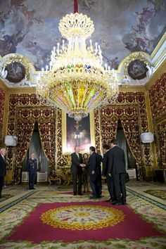 King Juan Carlos of Spain meets with President of the Republic of Kazajistan Nursultan Nazarbayev at Real Palace on February 2013 in Madrid, Spain. Palace Interior, Gothic Furniture, Spanish Royal Family, Famous Castles, Royal Residence, Fantasy Places, Grand Homes, Spain And Portugal, Royal Palace