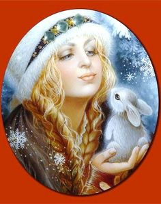 Russian lacquer miniature from the village of Fedoskino. Snegurochka (Snow Maiden) with a bunny.