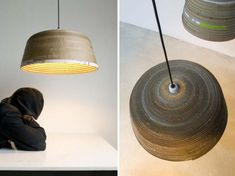 Michael Wolke Creates Sculptural Pendant Lamps From Strips of Old Cardboard