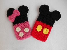 Cute Handmade Crochet Phone Cozy of Minnie and Mickey Mouse www.etsy.com/shop/TwistedCreationsNY www.facebook.com/TwistedCreationsNY