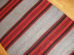 Vintage handwoven anatolian kilim long grey black red  by VintageHomeStories