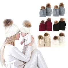 67a462d4a63 Mom And Baby Hat with Pompon Warm Raccoon Fur Bobble Beanie Kids Cotton  Knitted Parent-Child Hat Winter Caps Xmas Gift Department Name  BabyPattern  Type  ...