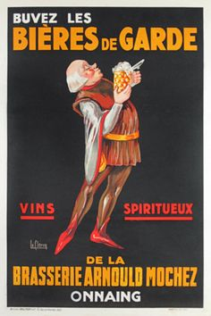 Buvez Les Biere De Garde Vins Spiritueux French poster by artist Le Clercq from 1930 France. All original authentic posters hand stone lithographs advertising wine, beer, champagne, liqueur, cognac and many more spirits.