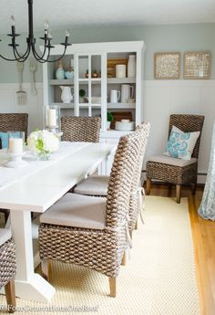 Coastal Farmhouse Dining Room makeover + seagrass chair + wheat rope indoor/outdoor rug + white pine planked trestle table