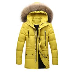 >> Click to Buy << Parka Men Winter Jacket Fur Hood Duck Down Quilted Coat Long Warm Thick Multi Pocket Solid Blue Yellow High Fashion Men Clothing #Affiliate