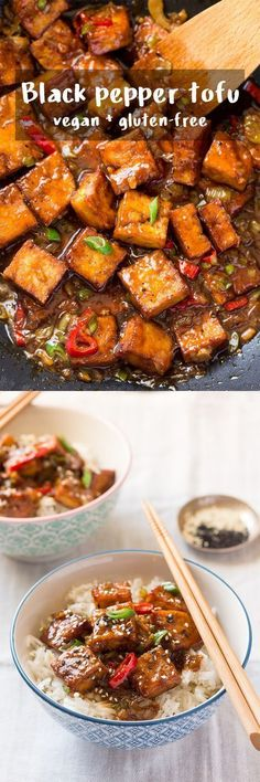 recipes dinner Vegan black pepper tofu My wife and I used to eat a similar dish at Manivanh on Street in San Francisco. Serve with jasmine rice to soak up the black pepper sauce. Tofu Recipes, Asian Recipes, Whole Food Recipes, Vegetarian Recipes, Cooking Recipes, Healthy Recipes, Vegetarian Lunch, Diet Recipes, Healthy Food