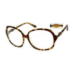 This women's frame is constructed by acetate. Includes designer temples and large round lenses.