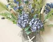 Deep blue Hydrangea Starfish Floral Arrangement