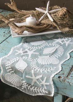 "Heritage Lace White TIDEPOOL 14"" x 40"" Table Runner - Seashells, Beach, Coastal  #HeritageLace"