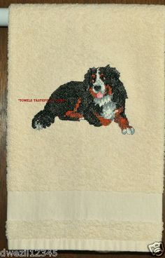 BERNESE MOUNTAIN DOG - CROSS STITCHED - ONE EMBROIDERED HAND TOWEL by Susan