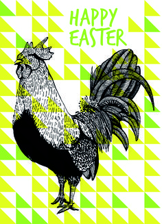 happy easter rooster triangle illustrattion pen