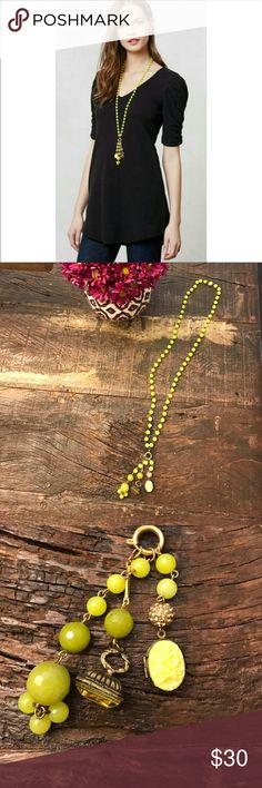 Anthropologie David Aubrey beaded rosary necklace Long beaded rosary style necklace purchased at Anthropologie with detachable charms! Excellent condition! Anthropologie Jewelry Necklaces