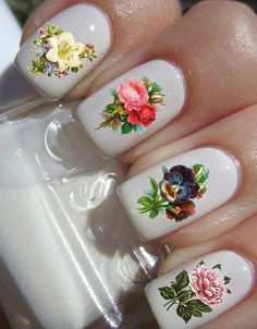 white nails with flowers