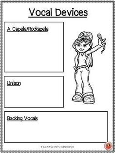 VOCAL DEVICES - This resource is a 19 page PDF file containing: ♫ Information pages: the description of 13 vocal devices/techniques. ♫ These pages can be projected onto a screen or printed off to aid teaching and class discussion. VOCAL DEVICES. Information, student workbook and listening activities.