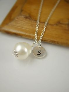4 Bridesmaid Gift Teardrop Pearl Initial Necklaces by ShinyLittleBlessings, $115.00