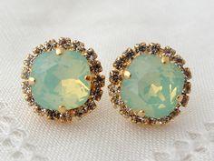 Mint earrings   Opal earrings   Mint green studs   Mint by EldorTinaJewelry   http://etsy.me/1Q0QcjL