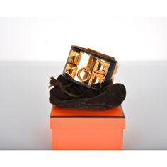 Hermès Black Leather & Gold CDC Collier de Chien Bracelet <3 <3 <3