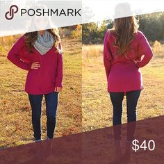 Berry -Loose Fit Sweater (Also avail. in Burgundy) This is a knit sweater made in a slightly thicker material and features a relaxed loose fit in the color berry. Perfect for leggings as well as jeans! Size M/L. New without tags. Sweaters Crew & Scoop Necks