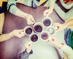 Group of people cheers with cups of coffee. Coffee Pictures, Cheers, Coffee Cups, Group, Glasses, People, Style, Paisajes, Eyewear