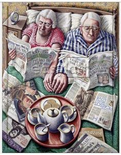 Sunday Morning Tea (Reading in Bed) Giclee Print at AllPosters by P. Vieux Couples, Good Books, My Books, Sunday Readings, Image Digital, Growing Old Together, The Golden Years, Reading In Bed, Lectures