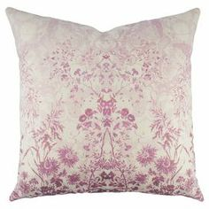 """Cotton pillow with a faded garden-themed motif. Handmade in the USA.  Product: PillowConstruction Material: 100% CottonColor: Purple and ivory Features:  Handmade by TheWatsonShopZipper enclosureMade in the USA Insert includedDimensions: 16"""" x 16"""" Cleaning and Care: Dry clean"""