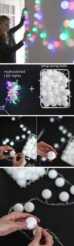Wedding Budget Lichterkette selber machen aus Tischtennisbällen - These are easy dorm DIY ideas that will instantly transform and brighten up your dorm room at college, and they are so easy to do! Christmas Lights, Christmas Time, Christmas Ornaments, Diy Ornaments, Christmas Ideas, Ball Ornaments, Homemade Christmas, Merry Christmas, Christmas Parties