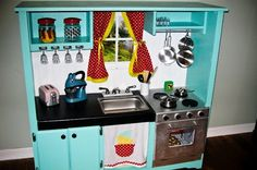 10. #Craigslist Entertainment #Center - 10 Fantastic DIY Play Kitchens ... → #Parenting #Kitchens