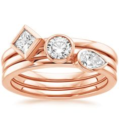 14K Rose Gold Bezel Diamond Ring Stack (2/3 ct. tw.) from Brilliant Earth