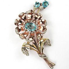 Trifari 'Alfred Philippe' Yellow and Rose Gold Aquamarine Daisy with Shoots Pin   eBay