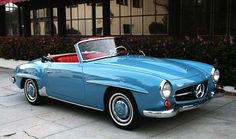 THE D R E A M CAR . hands down, my precious baby. 1960 Mercedes-Benz 190SL Roadster. In gorgeous Light Blue (DB334) over a red leather interior and navy soft top. My favorite combination. #mercedesvintagecars