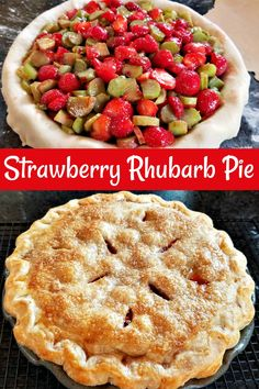 Strawberry Rhubarb Pie Recipe A classic spring pie using sweet berries and tart rhubarb in a flaky crust. via Books Cooks Looks cake cheesecake cake cupcakes cake decoration cake fancy dessert cake Rhubarb Desserts, Just Desserts, Delicious Desserts, Easy Strawberry Rhubarb Pie, Rhubarb Ideas, Strawberry Rhubarb Muffins, Cooking Rhubarb, Pie Recipes, Dessert Recipes