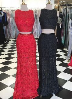 Lace Prom Dresses, Two Piece Prom Dresses, Cute Long Evening Dress For Prom 2018 #promdresses #prom #dresses #prom #promdress