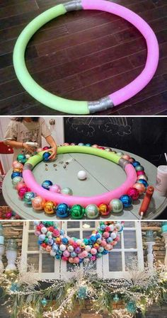 Diy large outdoor Christmas wreath ~ Top 21 The Best DIY Pool Noodle Home Projects and Lifehacks Winter Christmas, All Things Christmas, Christmas Holidays, Simple Christmas, Large Christmas Wreath, Whimsical Christmas Trees, Dollar Store Christmas, Christmas Cactus, Christmas Vacation