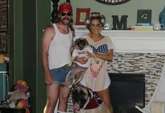 Costumes {The pug was made a matching outfit} Hillbilly Costume, Hillbilly Party, Redneck Party, Party Themes, Theme Parties, Theme Ideas, Party Ideas, White Trash Costume
